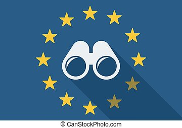 European Union long shadow flag with a binoculars -...