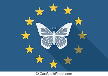 European Union  long shadow flag with a butterfly