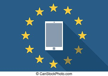 European Union  long shadow flag with a smart phone