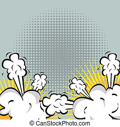 explosion or fight in comics - Illustration of an explosion...