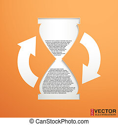 hourglass with a field for the text
