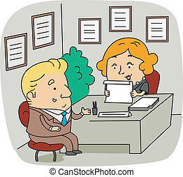 HR Personnel - Illustration of an HR Personnel at Work