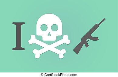 """I don't like"" hieroglyph with  a machine gun sign"