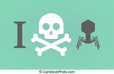 """I don't like"" hieroglyph with a virus"