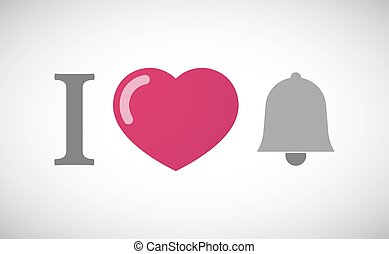 """""""I love"""" hieroglyph with a bell"""