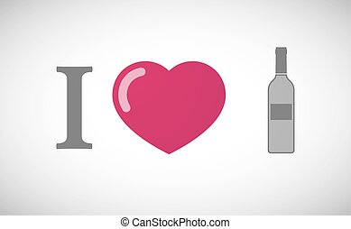 """""""I love"""" hieroglyph with a bottle of wine"""