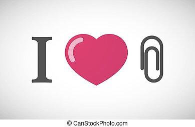 """I love"" hieroglyph with a clip"