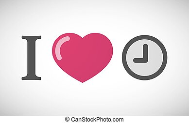 """I love"" hieroglyph with a clock"