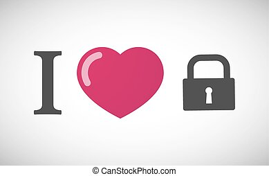 """I love"" hieroglyph with a closed lock pad"