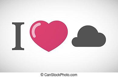 """I love"" hieroglyph with a cloud"