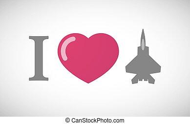 """I love"" hieroglyph with a combat plane"