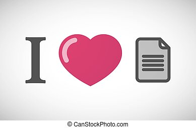 """""""I love"""" hieroglyph with a document"""