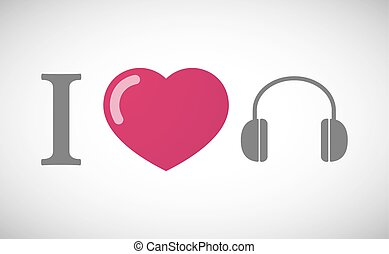 """I love"" hieroglyph with a earphones"