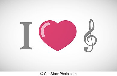 """""""I love"""" hieroglyph with a g clef - Illustration of an """"I..."""