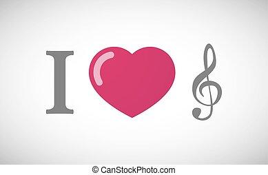 """I love"" hieroglyph with a g clef"