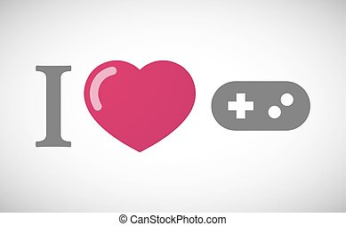 """""""I love"""" hieroglyph with a game pad"""