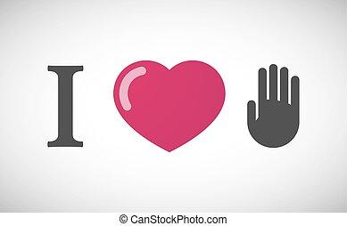 """I love"" hieroglyph with a hand"