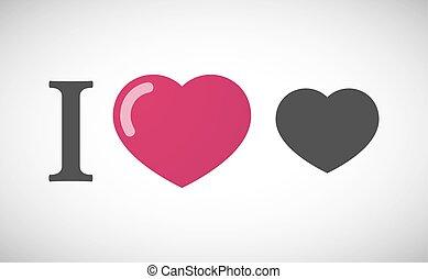 """I love"" hieroglyph with a heart"