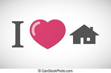 """""""I love"""" hieroglyph with a house"""