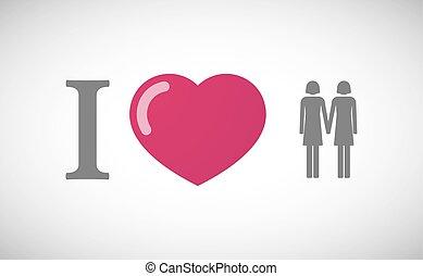 """I love"" hieroglyph with a lesbian couple"