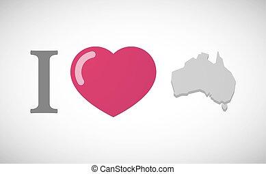 """I love"" hieroglyph with a map of Australia"