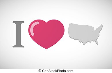 """I love"" hieroglyph with  a map of the USA"