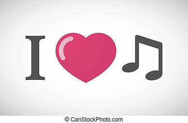 """""""I love"""" hieroglyph with a note music"""