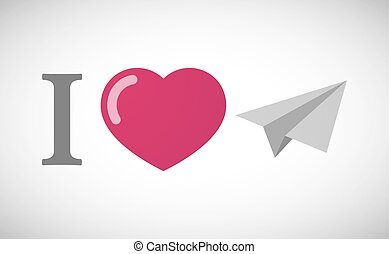 """""""I love"""" hieroglyph with a paper plane"""