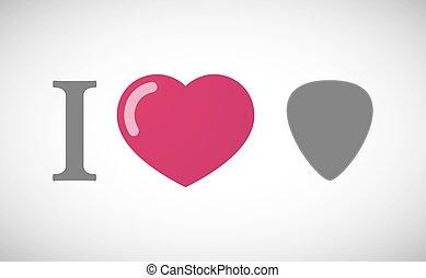 """I love"" hieroglyph with a plectrum"