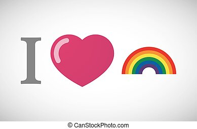 """I love"" hieroglyph with a rainbow"
