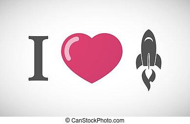 """I love"" hieroglyph with a rocket"