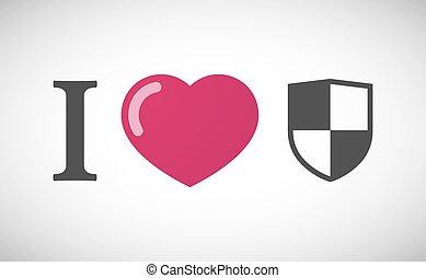 """I love"" hieroglyph with a shield"