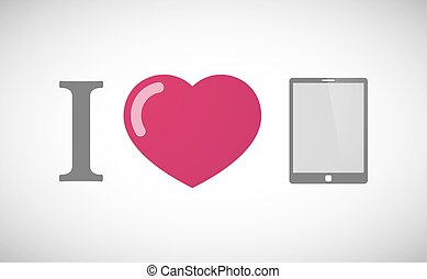 """""""I love"""" hieroglyph with a tablet computer"""