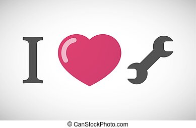 """""""I love"""" hieroglyph with a wrench"""