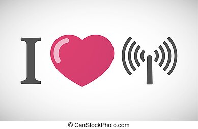 """I love"" hieroglyph with an antenna"