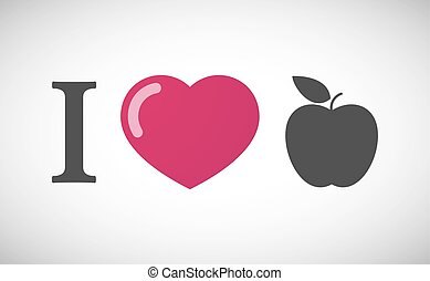 """I love"" hieroglyph with an apple"