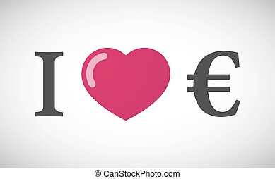 """I love"" hieroglyph with an euro sign"