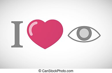 """I love"" hieroglyph with an eye"