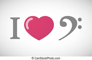 """I love"" hieroglyph with an F clef"