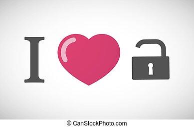 """I love"" hieroglyph with an open lock pad"