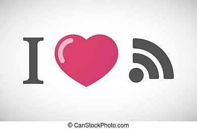 """I love"" hieroglyph with an RSS sign"