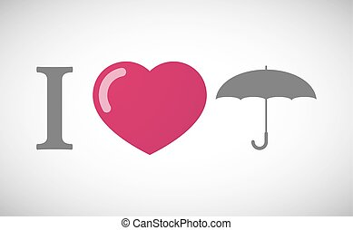 """I love"" hieroglyph with an umbrella"