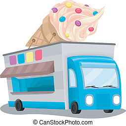 Illustration of an Ice Cream Truck with a Huge Ice Cream Installation on Top