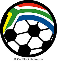 illustration of an icon for of a soccer ball with  flag of republic of south africa