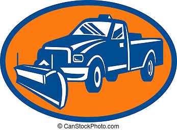 icon with Snow plow pick-up truck inside oval - illustration...