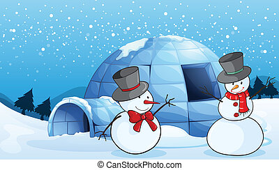 an igloo and snowmen - illustration of an igloo and snowmen...