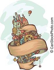 Steampunk Doodle Floating Island Ribbon
