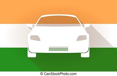 India flag icon with a car