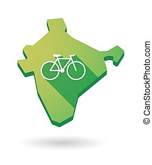 India map icon with a bicycle