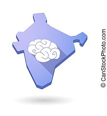 India map icon with a brain